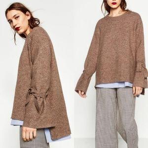 Zara knit tie sleeve sweater small